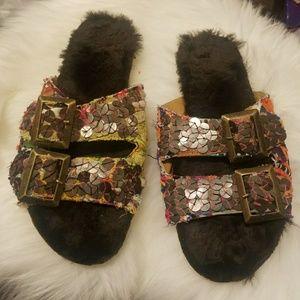 NWOT Free People Kantha Faux Fur Sandals